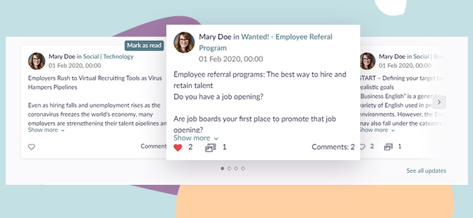 whats up on deck #6 tiles with posts in employee development platform HCM Deck