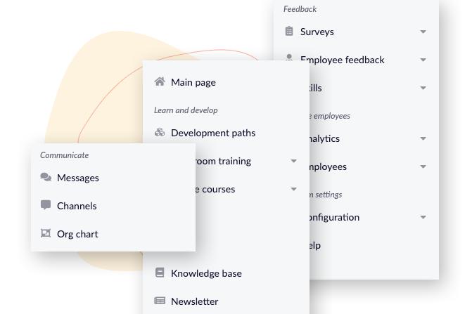 the layout of the main menu of HCM Deck -- the employee development digital platform