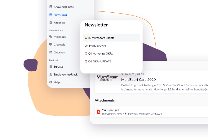 Company newsletter -- how to access it from the menu in the HCM Deck platform