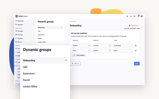 whats up on deck #7 dynamic groups screenshot in employee development platform hcm deck