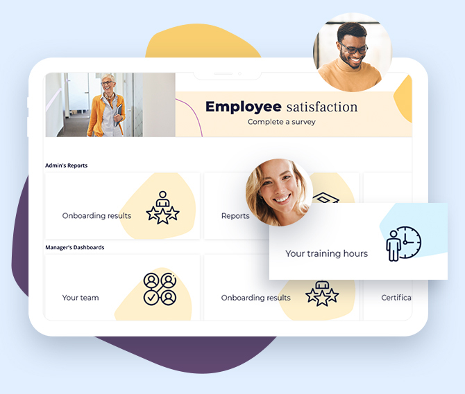 Employee satisfaction surveys and other dashboard elements in HCM Deck -- employee development and talent management platform
