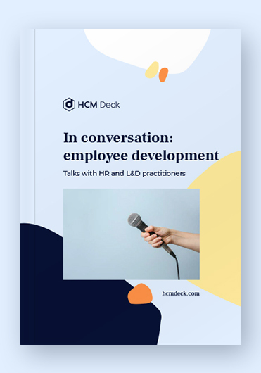 In conversation_employee development. Talks with HR and L&D practitioners. Interviews ebook cover broad view