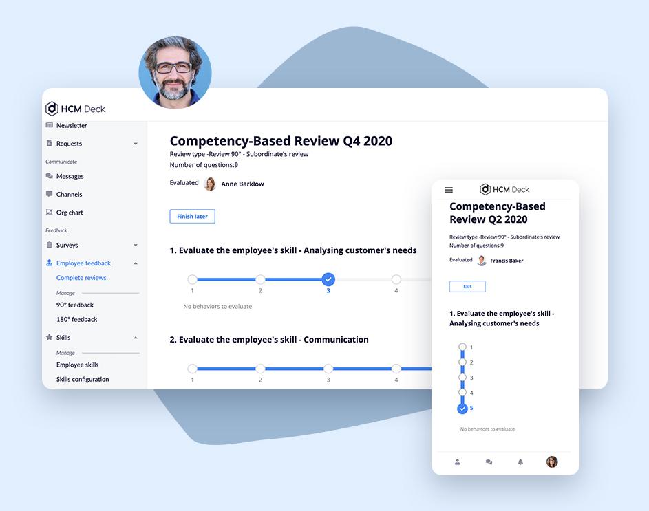 competency-based feedback and appraisal in employee development platform HCM Deck